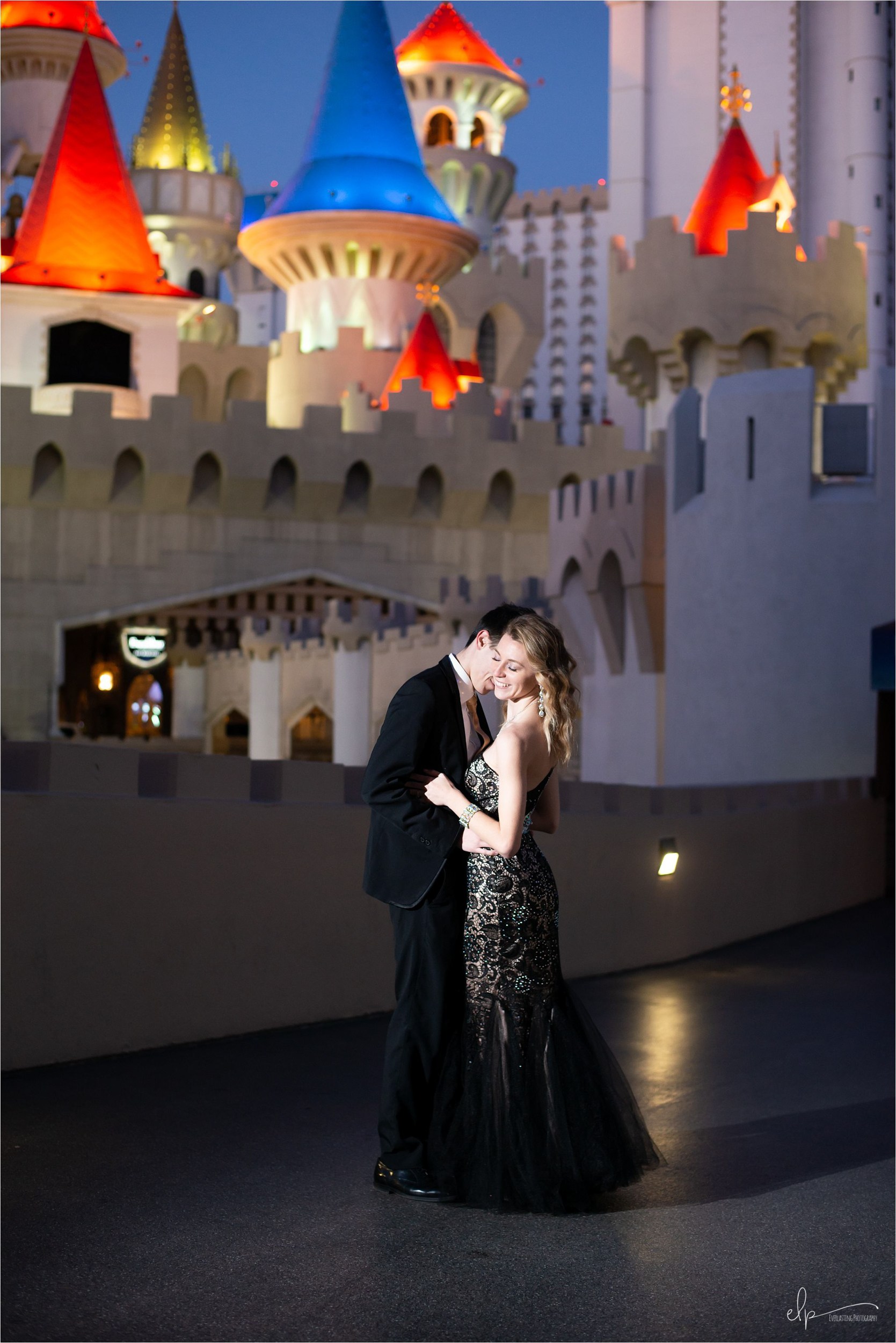 Engagement shoot at Las Vegas Excalibur Hotel & Casino.