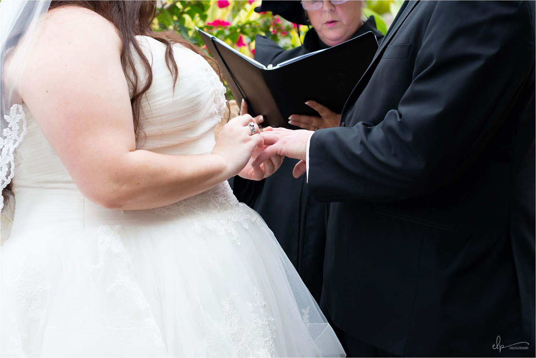 Ring exchange at wedding ceremony.