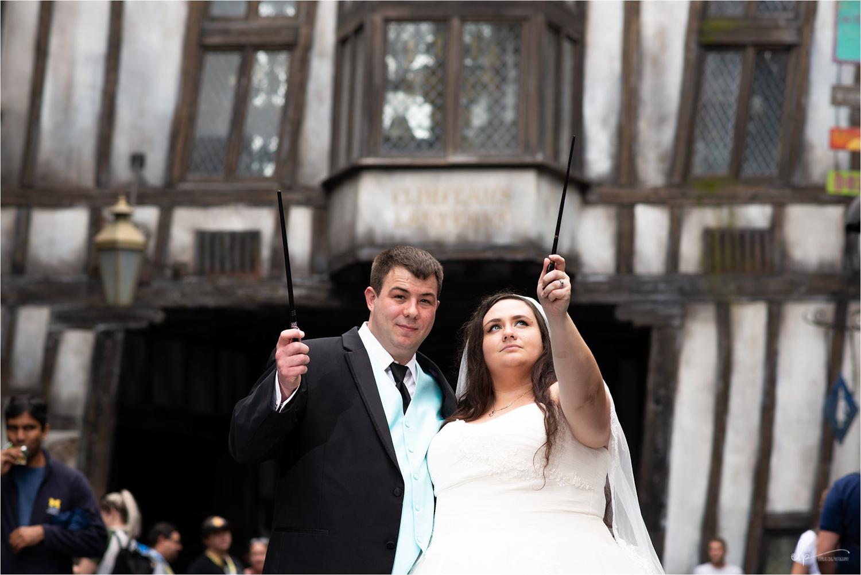 Bride and groom at Diagon Alley