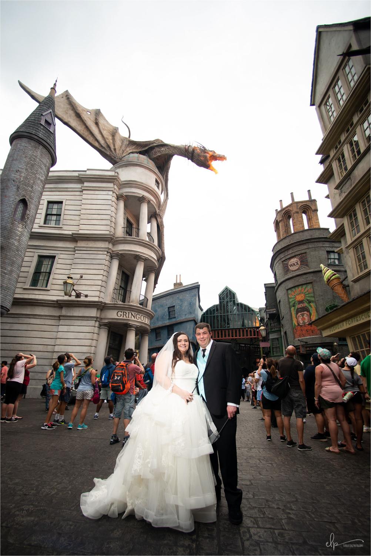Wedding photos at Diagon Alley