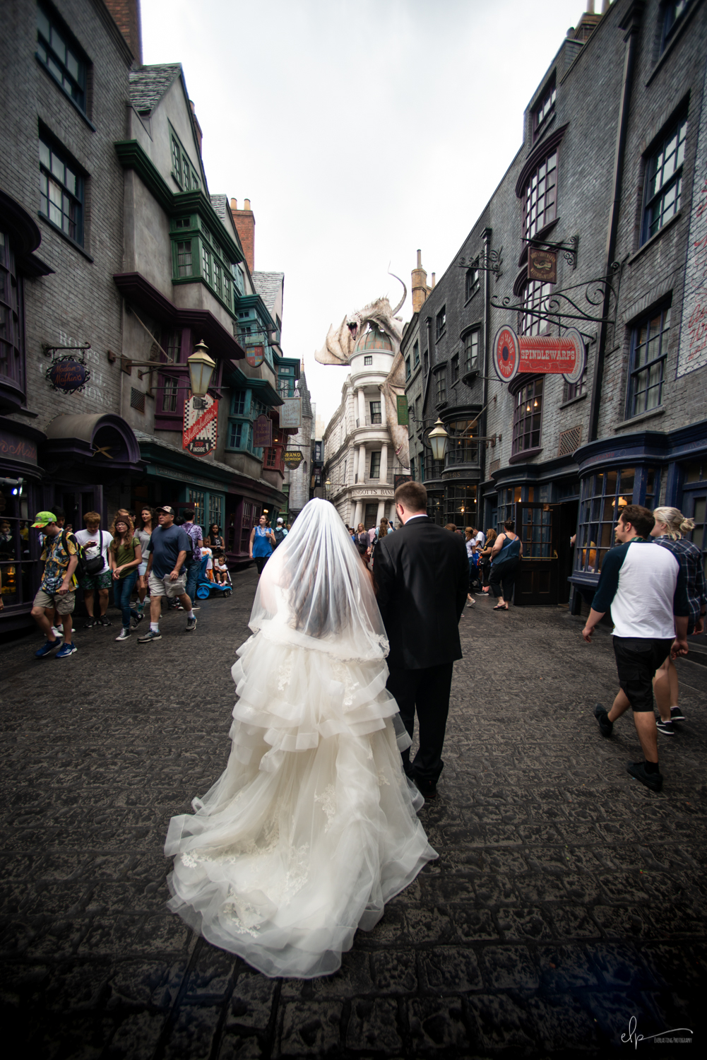 Engagement session location at Diagon Alley in Universal Studios