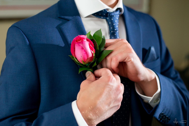 Groom getting ready wedding photos on disney cruise line