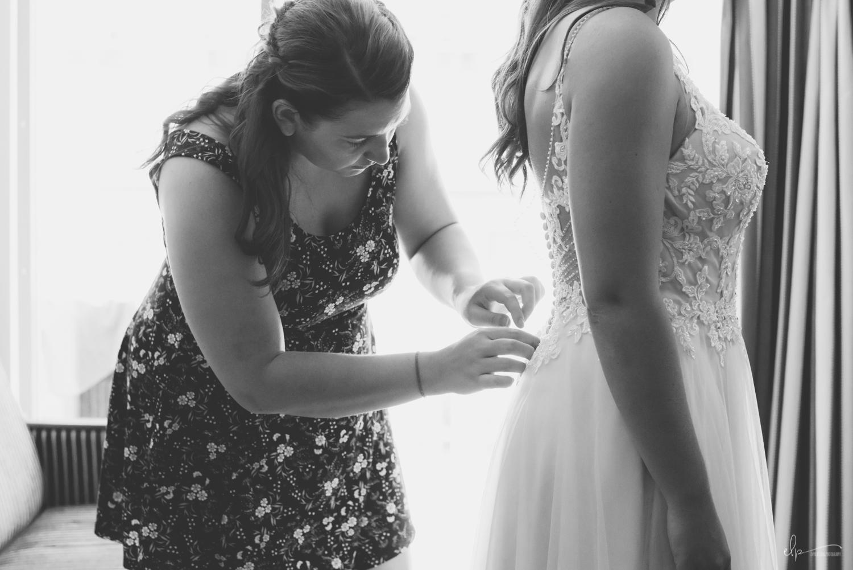 Bride getting ready wedding photographer on disney cruise line