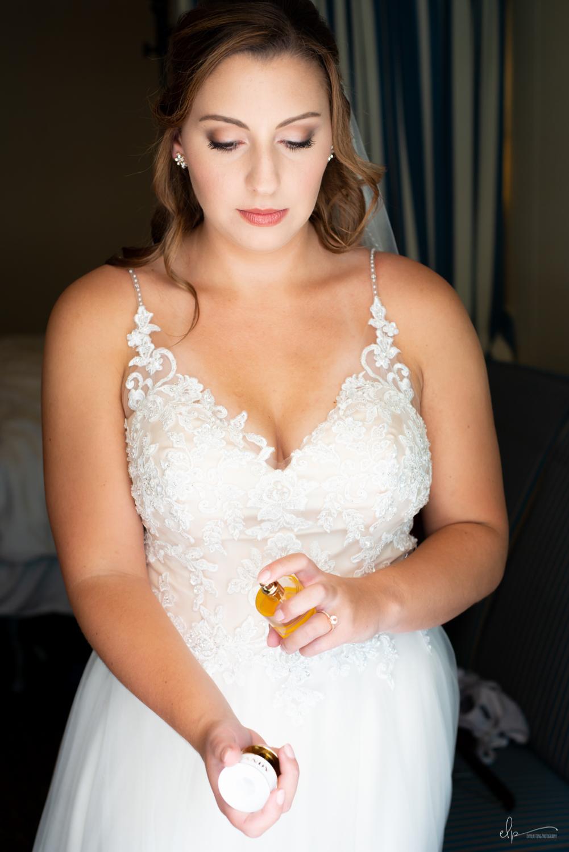 Bride getting ready wedding portraits on disney cruise line