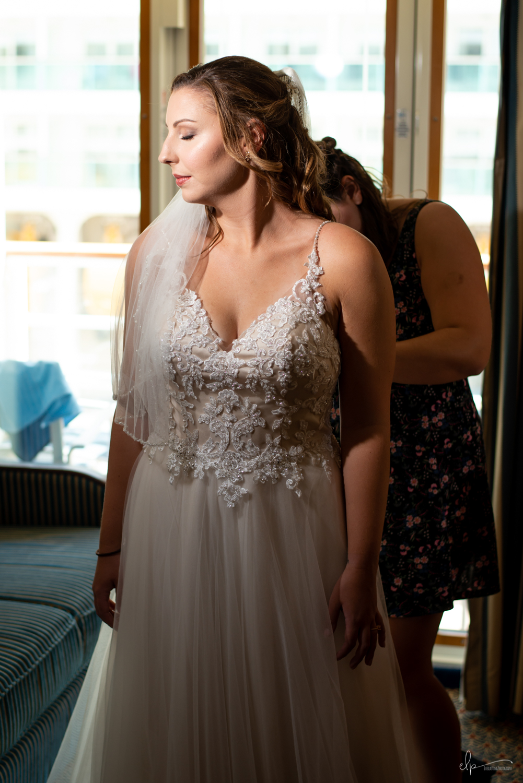 Bride getting ready wedding on disney cruise line