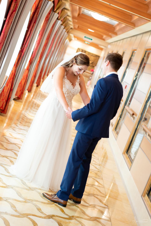 First look wedding photograph on disney cruise line