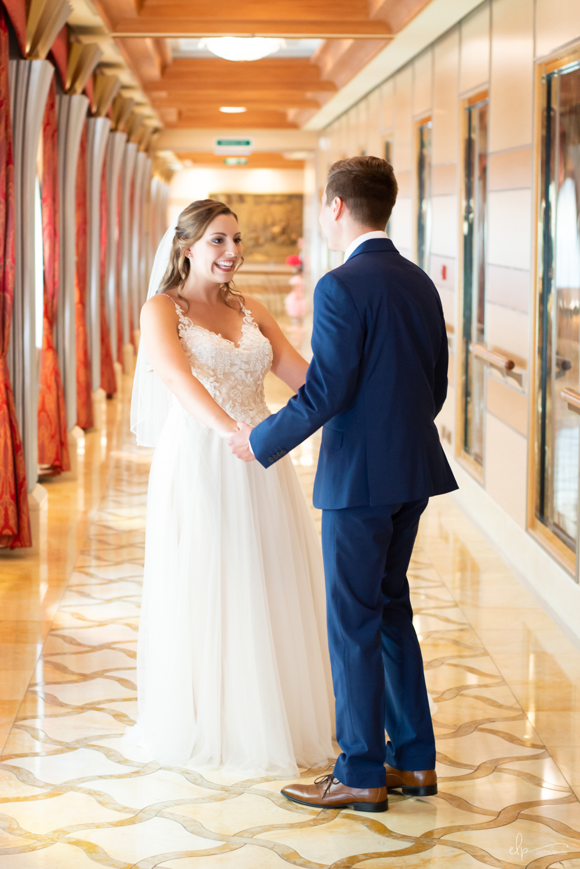 First look wedding photographs on disney cruise line