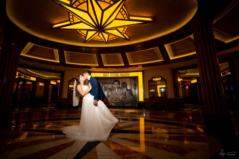 Walt disney theater wedding photography on disney dream cruise