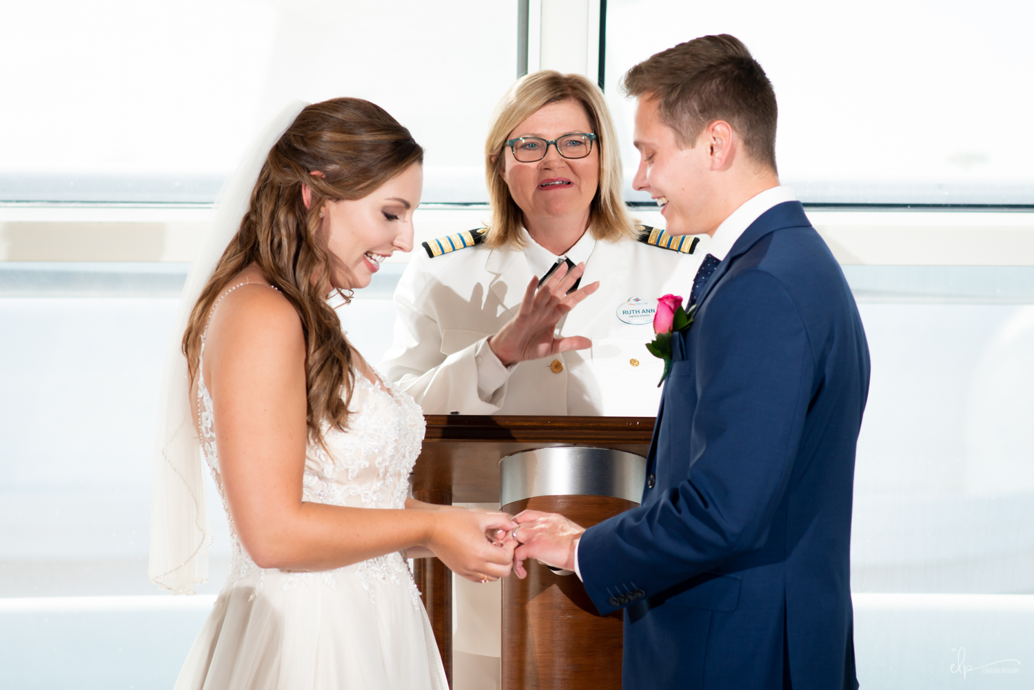 wedding ceremony photography in outlook lounge on disney cruise