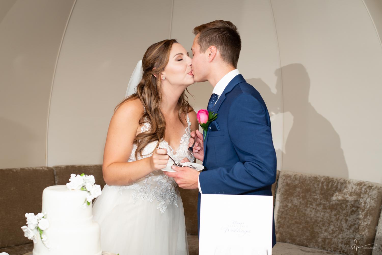 wedding cake in outlook lounge on disney cruise