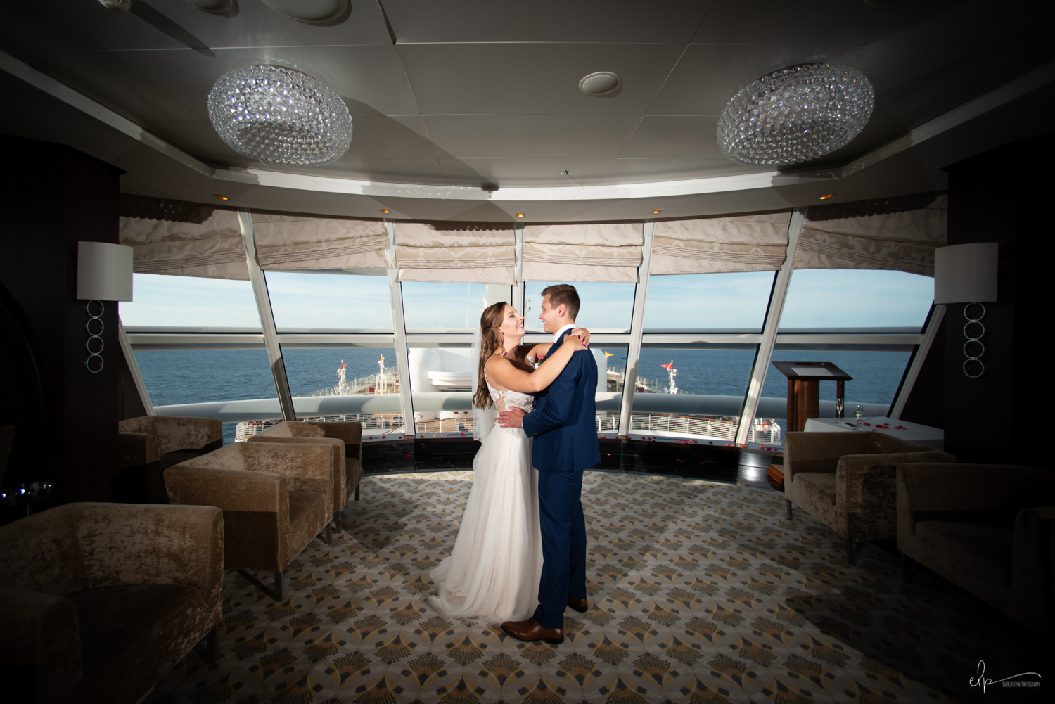 wedding photos in outlook lounge on disney cruise line