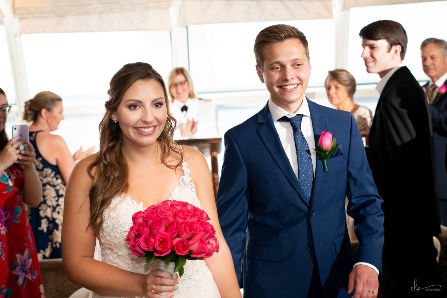 wedding ceremony photos in outlook lounge on disney cruise