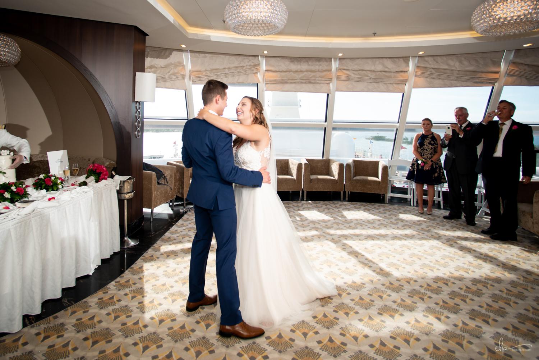 wedding photos in outlook lounge on disney cruise