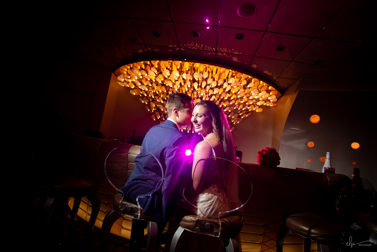 wedding photography at pink lounge on disney dream