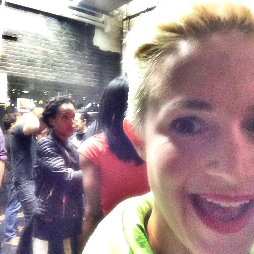 Kerry Washington chatting with cast member Renee Elise Goldsberry