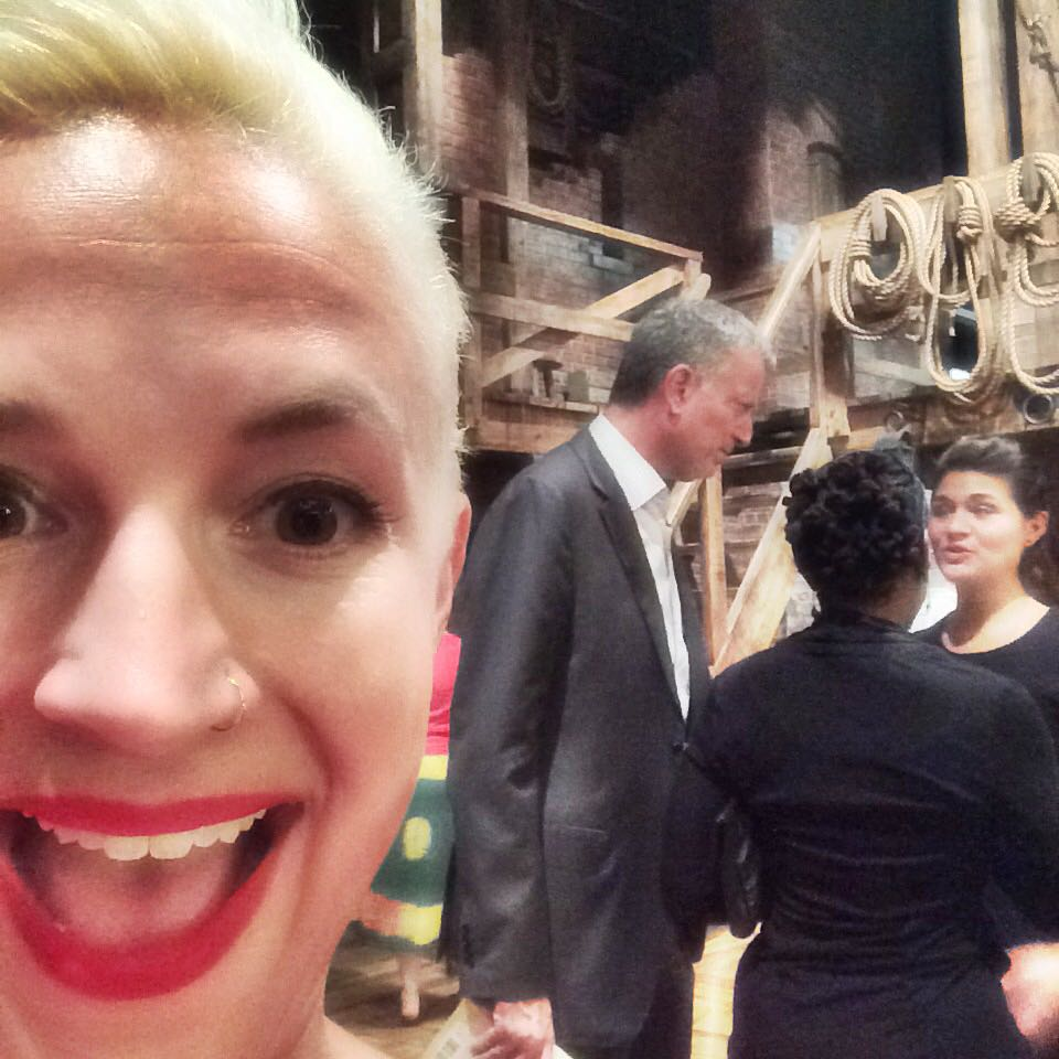 NY Mayor Bill de Blasio and First Lady Charlene McCray speak with cast member Phillipa Soo