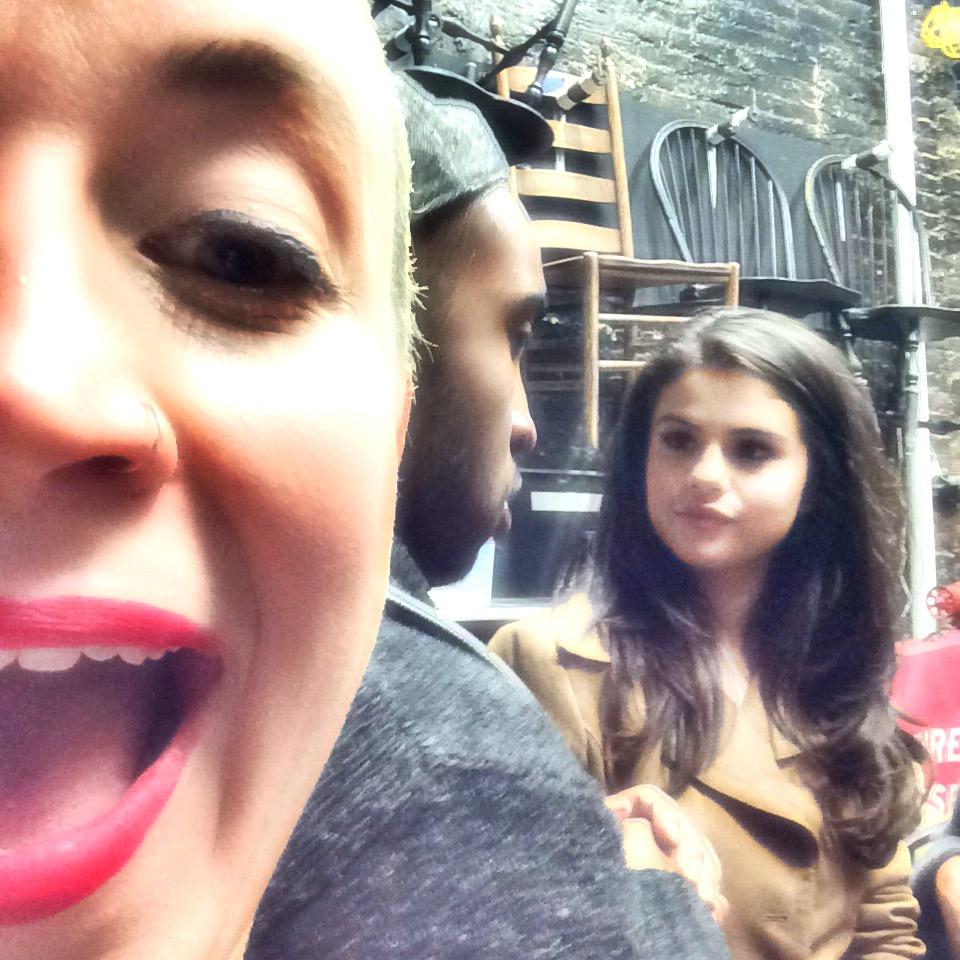 Selena Gomez talks to cast member Austin Smith