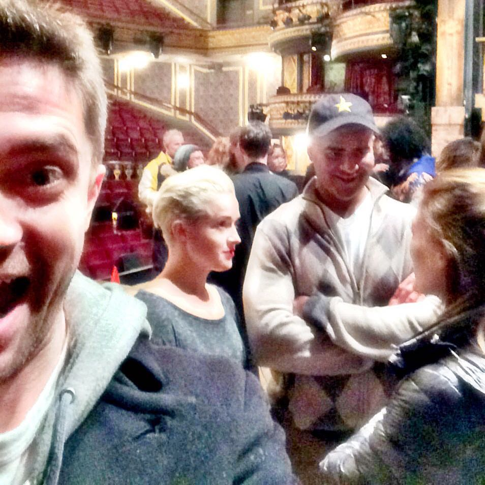 "Topher Grace ""steals"" my camera as cast member Christopher Jackson and I chat with Ashley Hinshaw"
