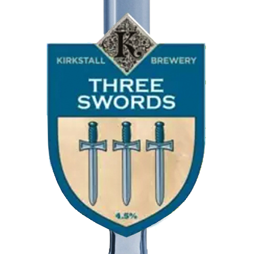Three Swords - 4.5%Very pale and spectacularly thirst-quenching. Three different hops give this beer a delightful citrus nose.Lemon and floral hop character with an easy drinking light malt baseClick here for more info on Kirkstall Brewery
