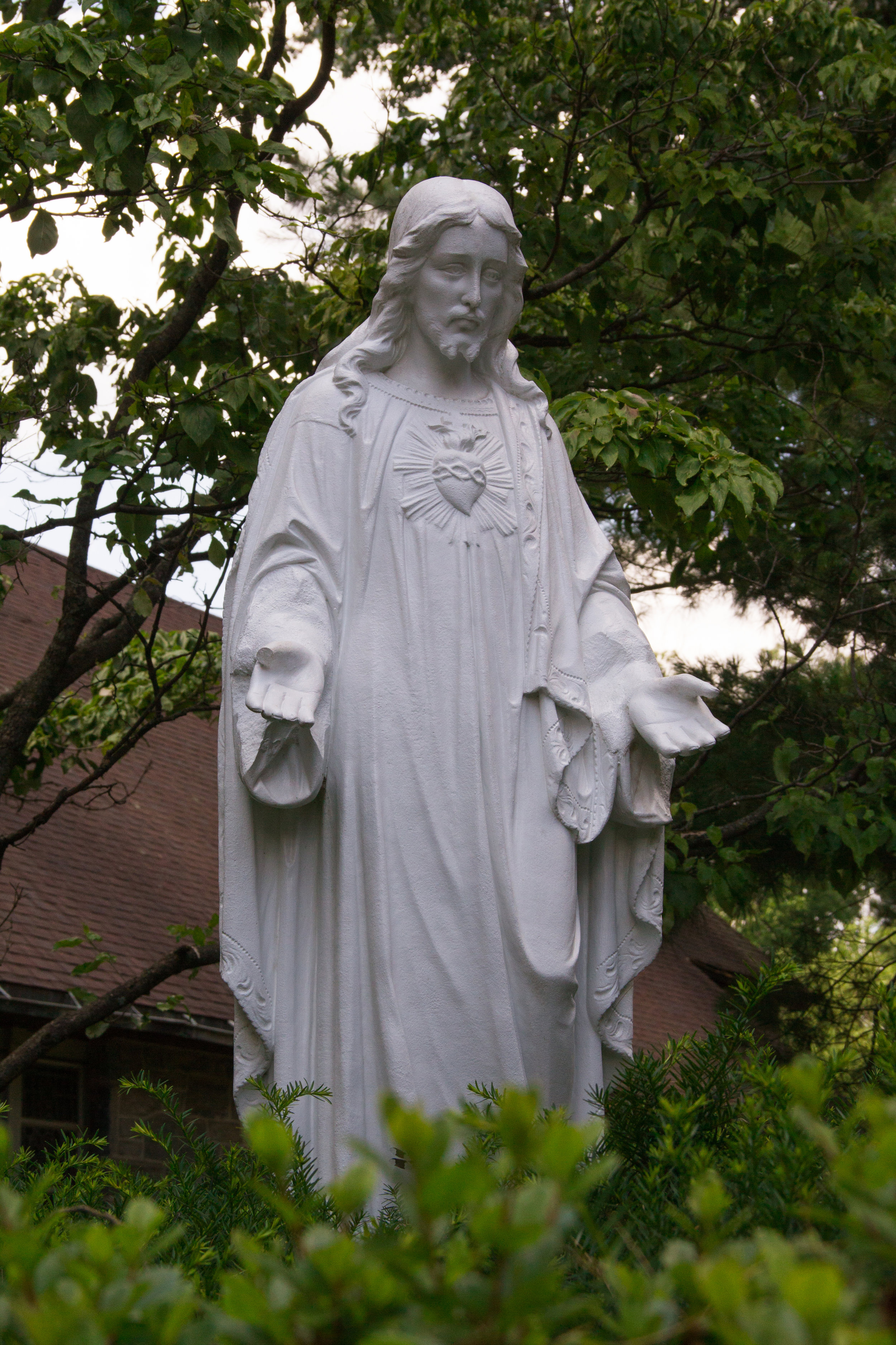 Statue of the Sacred Heart of Jesus, outside the Bruckman Memorial Chapel