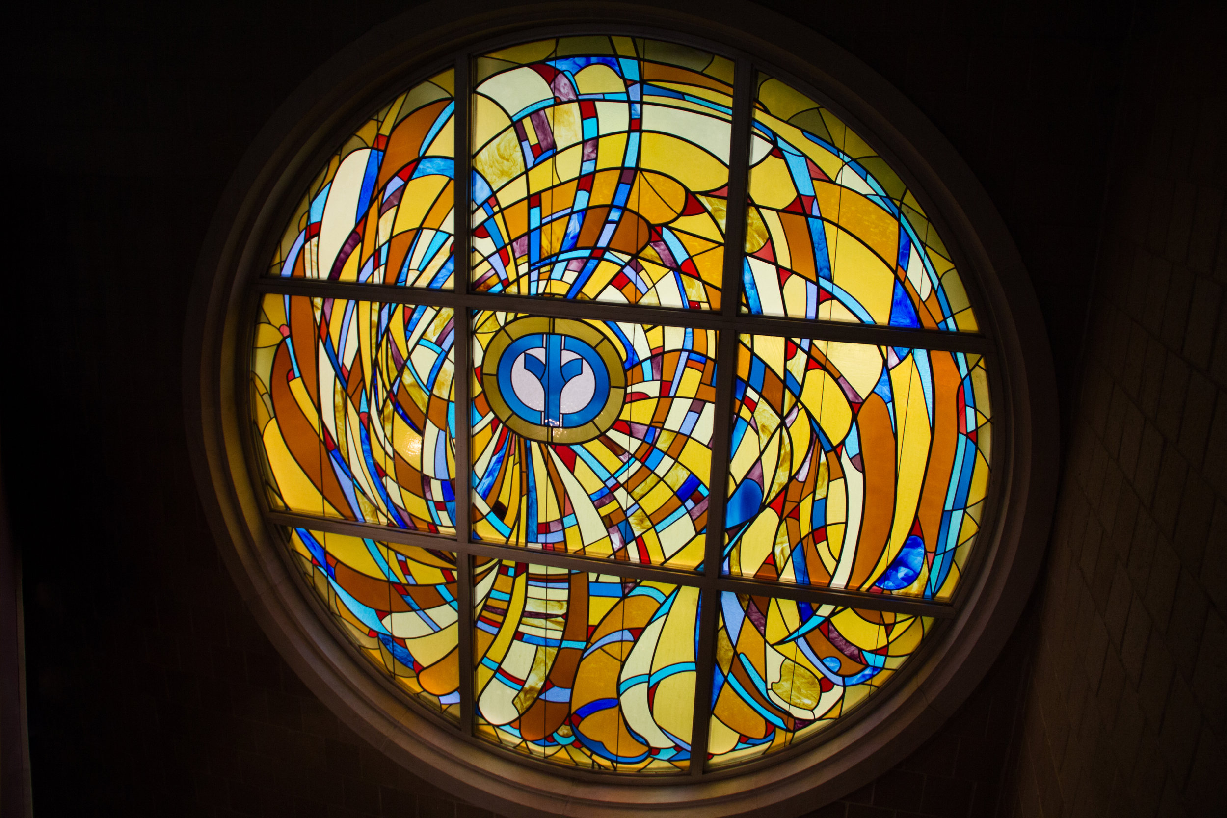 Stained glass window inside the Widener Center