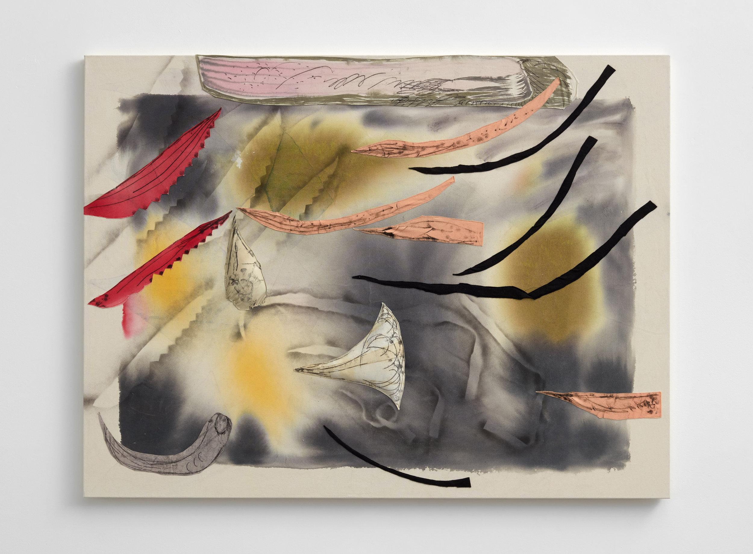 Aimée Parrott  Anthropocene view part 2, 2017  Ink, felt, velvet on canvas, 120 x 160 cm
