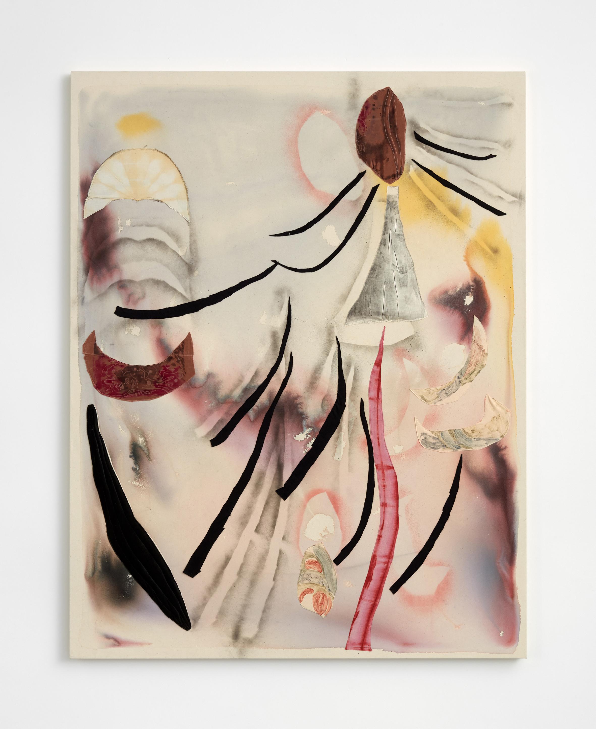 Aimée Parrott  Anthropocene view part 1, 2017  Ink, felt, velvet on canvas, 180 x 140 cm