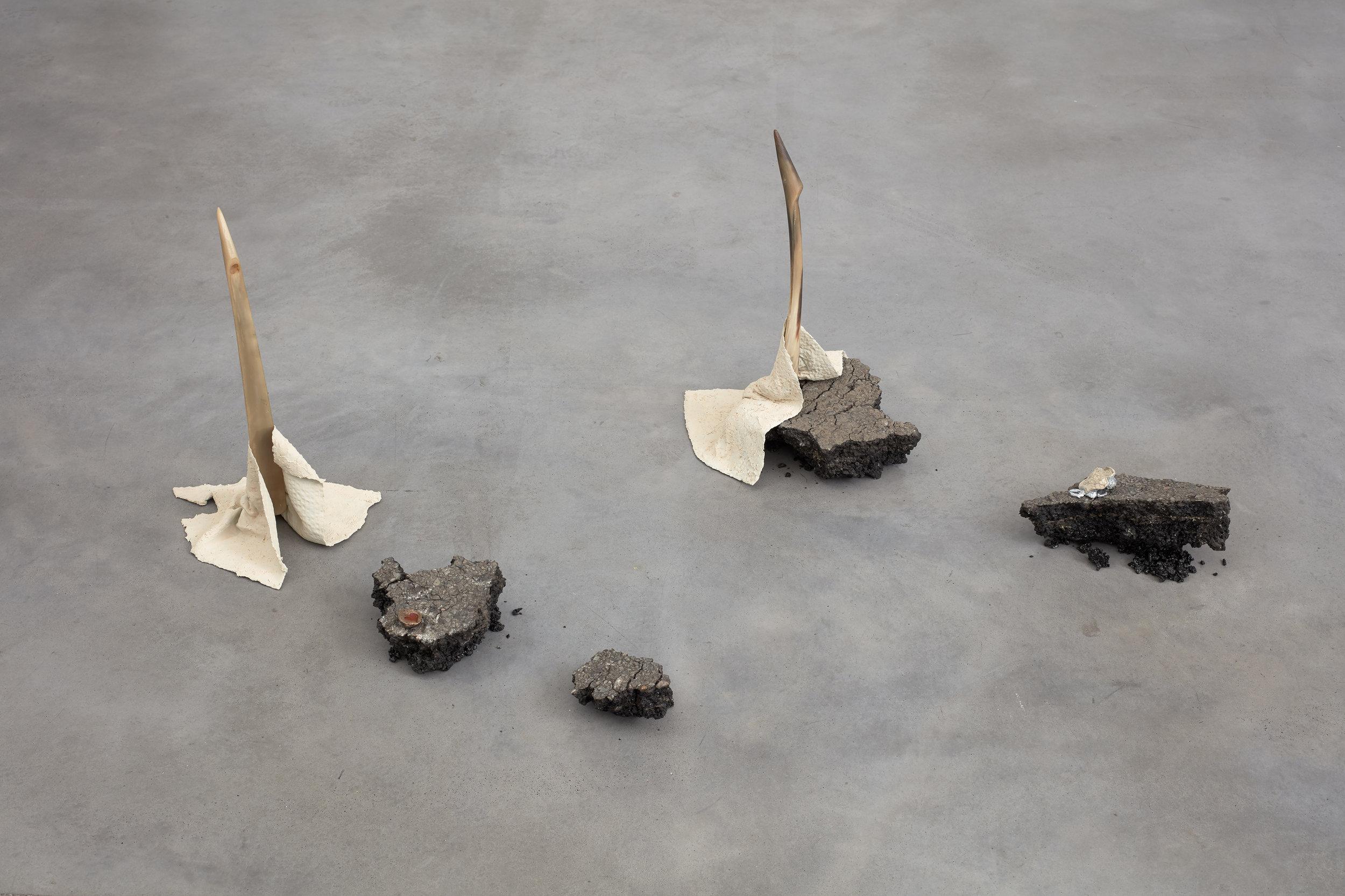 One animal in another's shoes  Shoe horns, asphalt, epoxy modelling compound, bronze, antifreeze, bone ash, gallium  2018