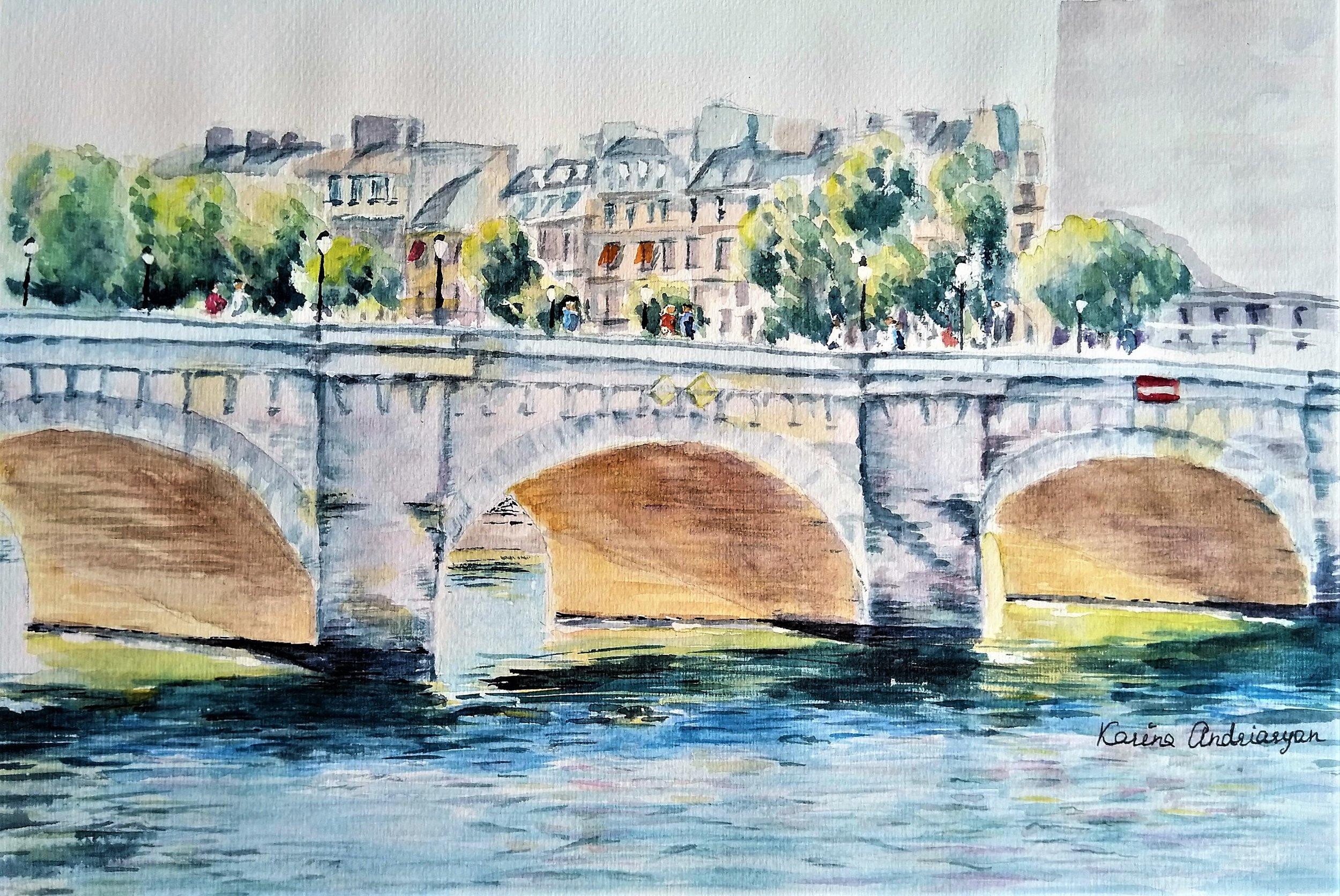 Pont-Neuf-Paris-watercolor-Karine Andriasyan