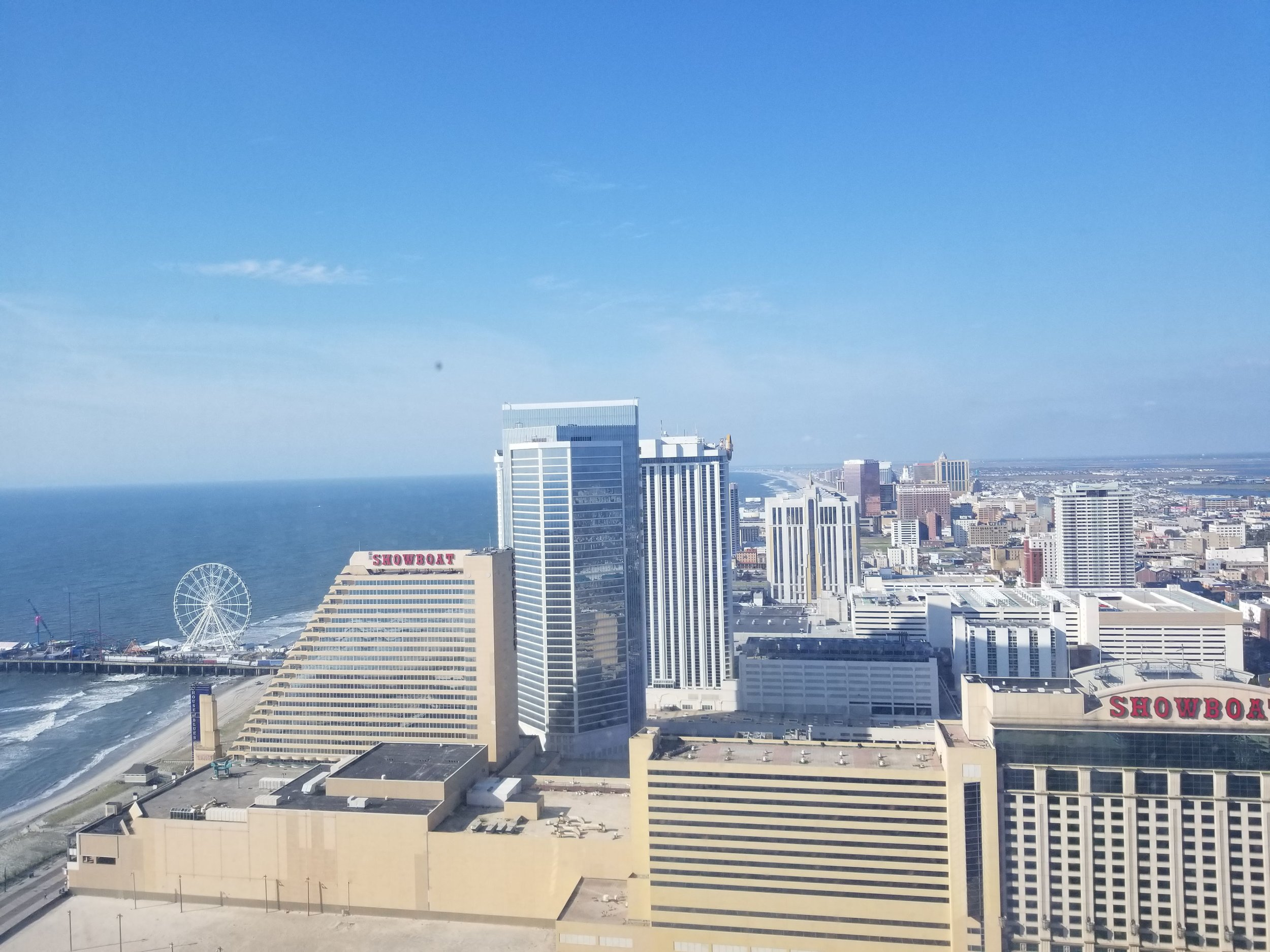 Beach and Boardwalk from Ocean Resort, Atlantic City, New Jersey