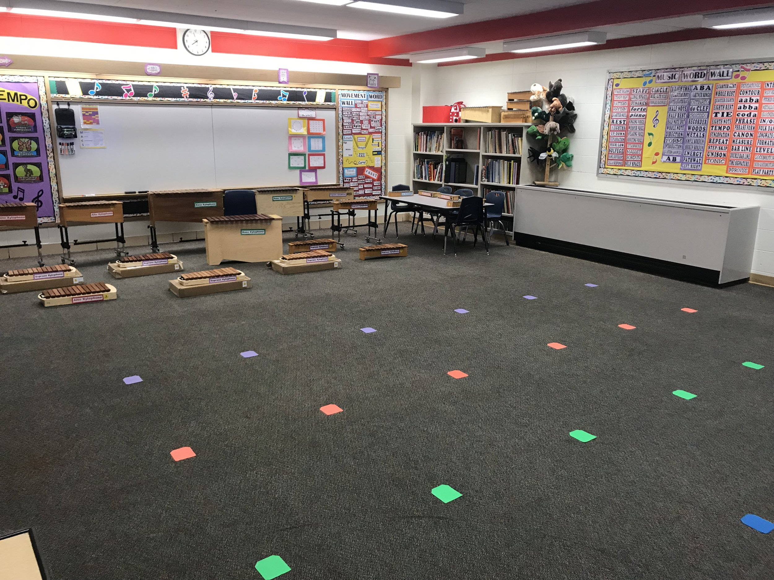 This is a view of my room from the door looking to the back of the room. The sit spots on the floor are shaped like pockets and they velcro to the carpet!