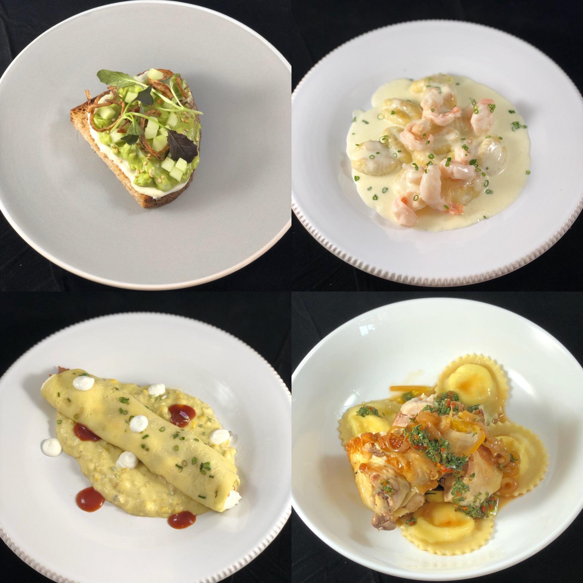 Avocado Toast, Butter Poached Shrimp & Potato Gnocchi, BBQ Duck Crepe & Creamed Corn, Ricotta Ravioli & Roasted Chicken