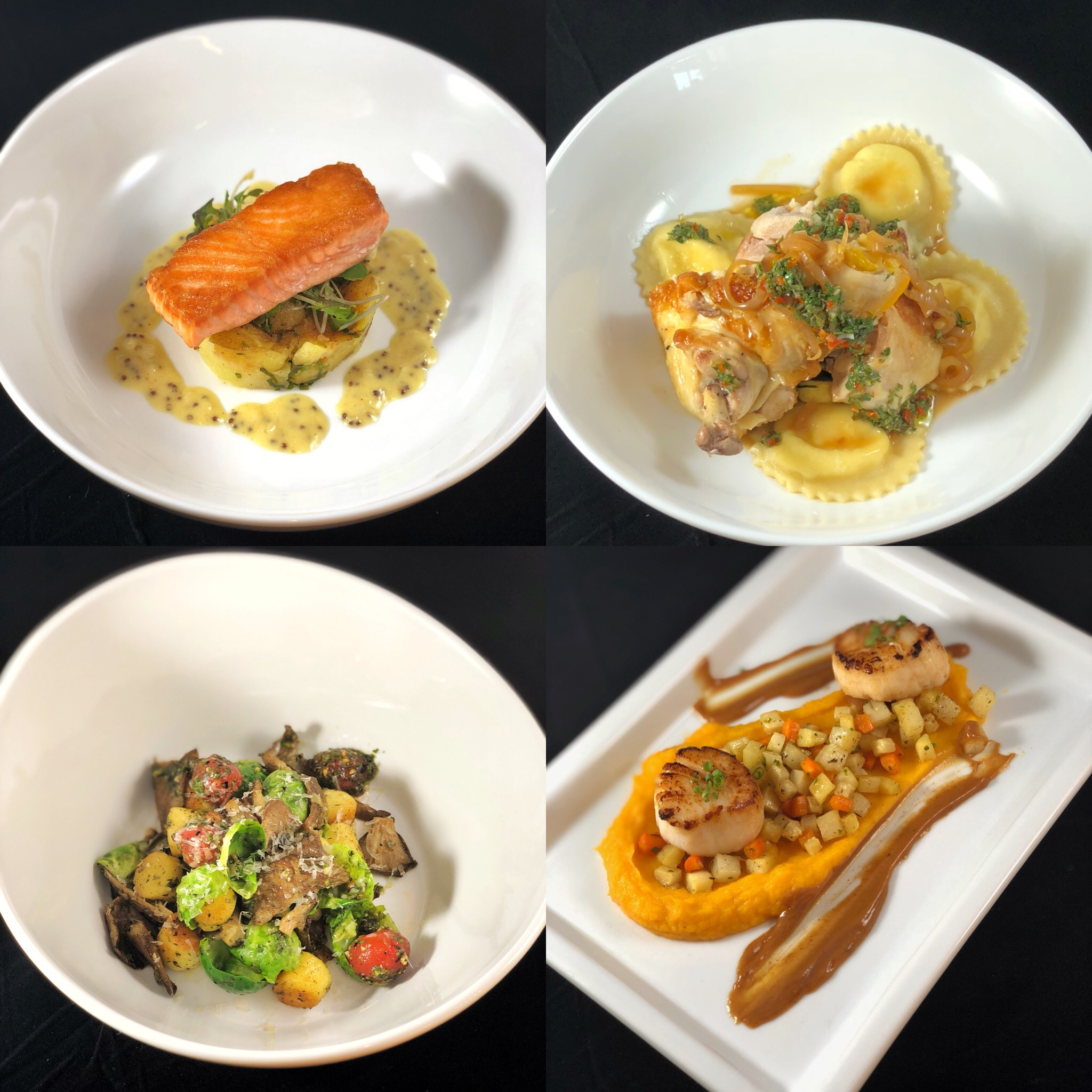 Salmon, lemon-basil potato & mustard cream. Ricotta ravioli & roasted chicken. Gnocchi, mushroom, brussels & scallion pesto. Scallops, butternut squash, root vegetable hash & browned butter.