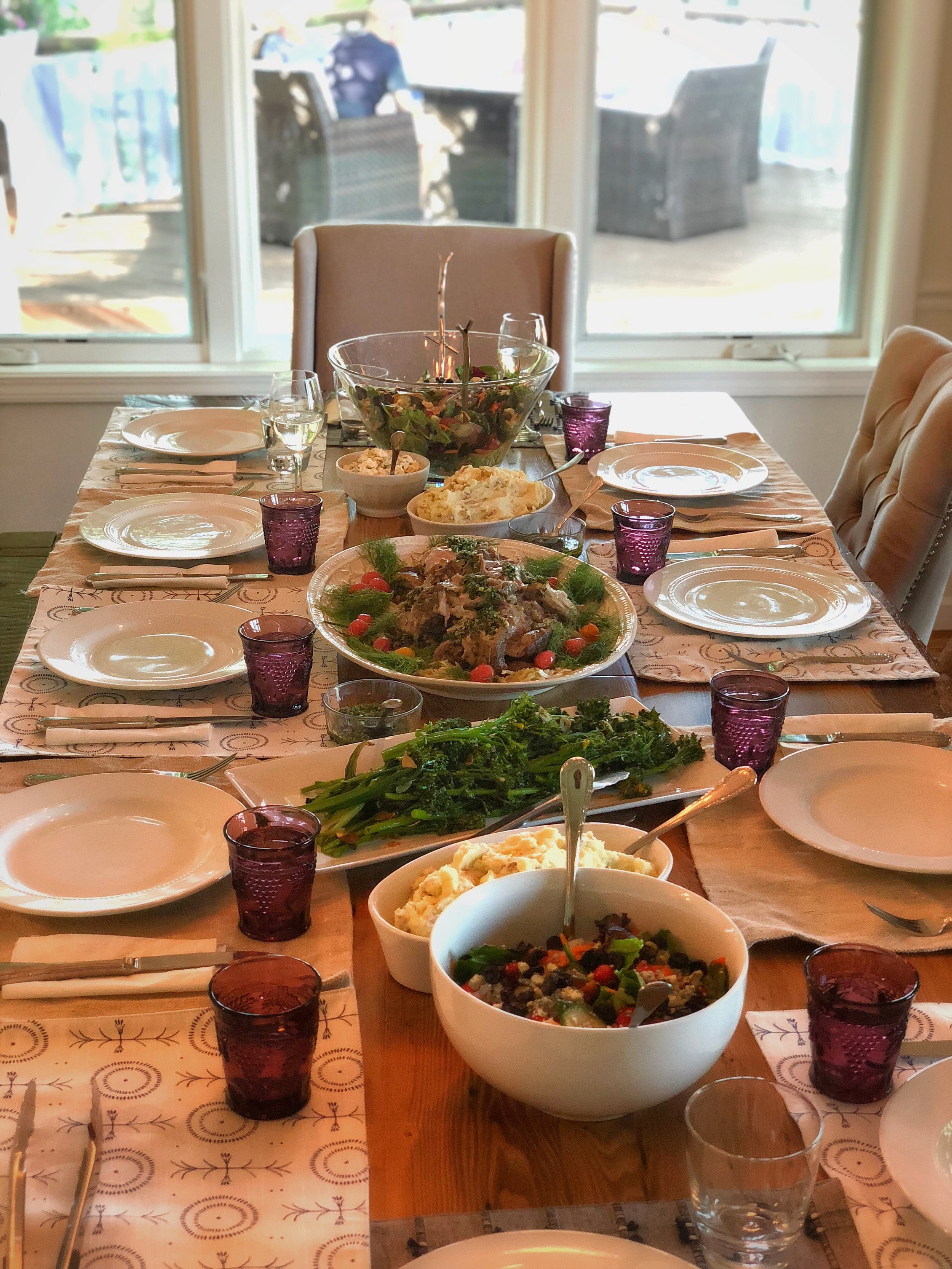Roast Pork Shoulder, Michigan Cherry Salad, Garlic Broccolini, Smoked Gouda Mashed Potato