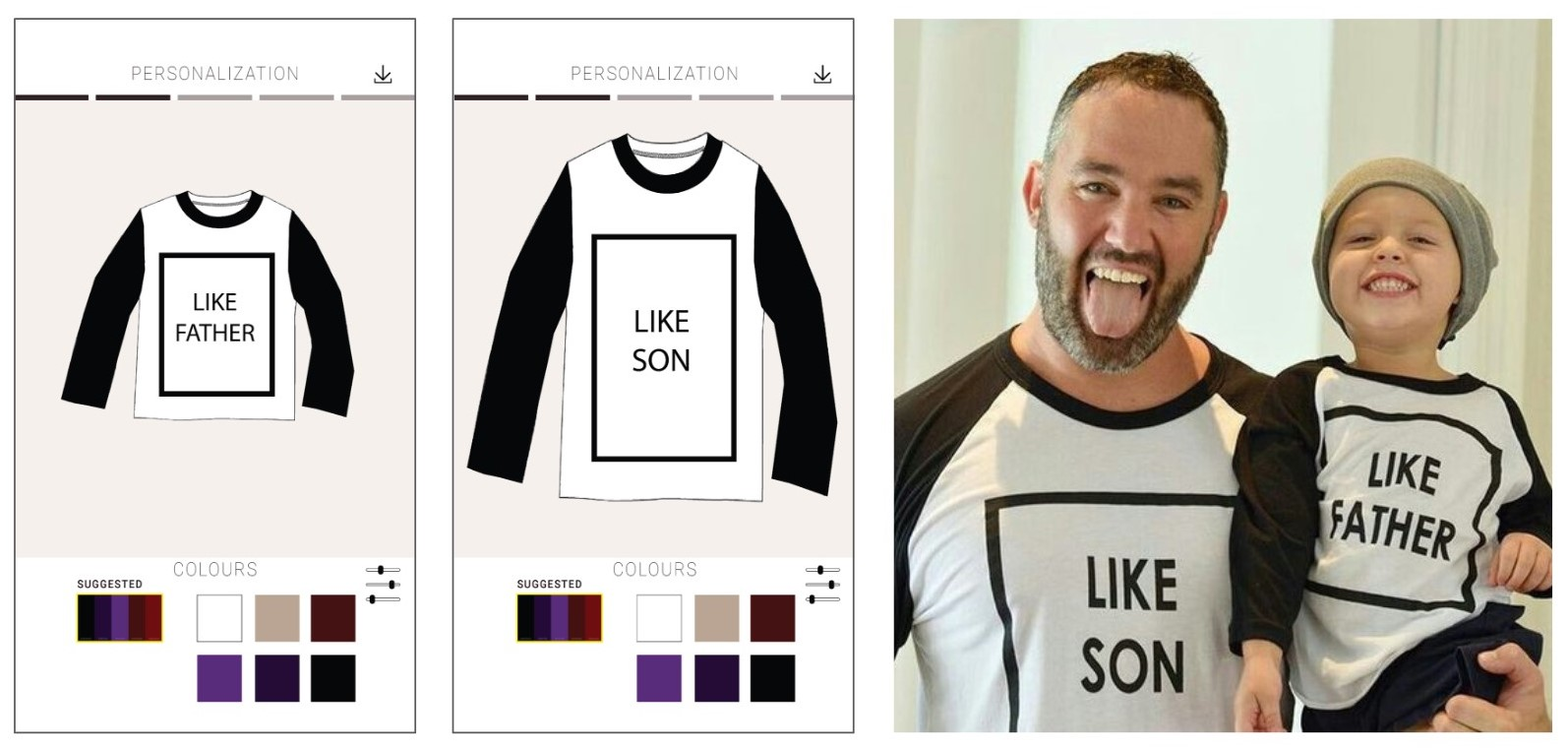 Simple and intuitive. Henry can co-design unique garments with his son.