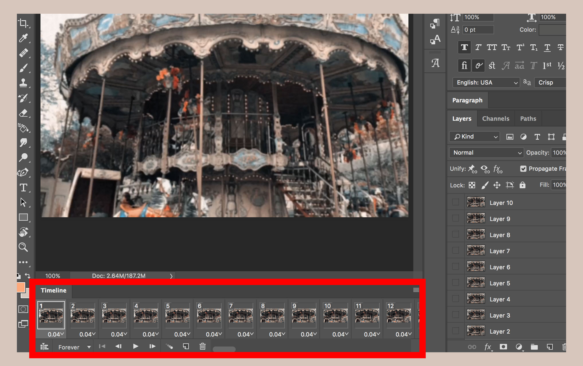 Create animated gif in photoshop