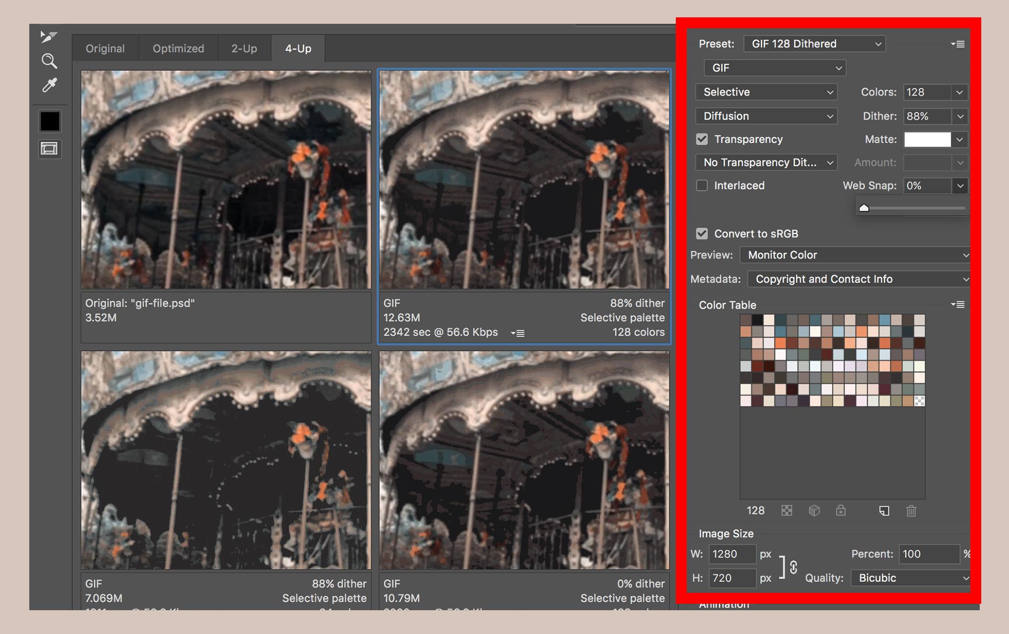 Export animated gif photoshop