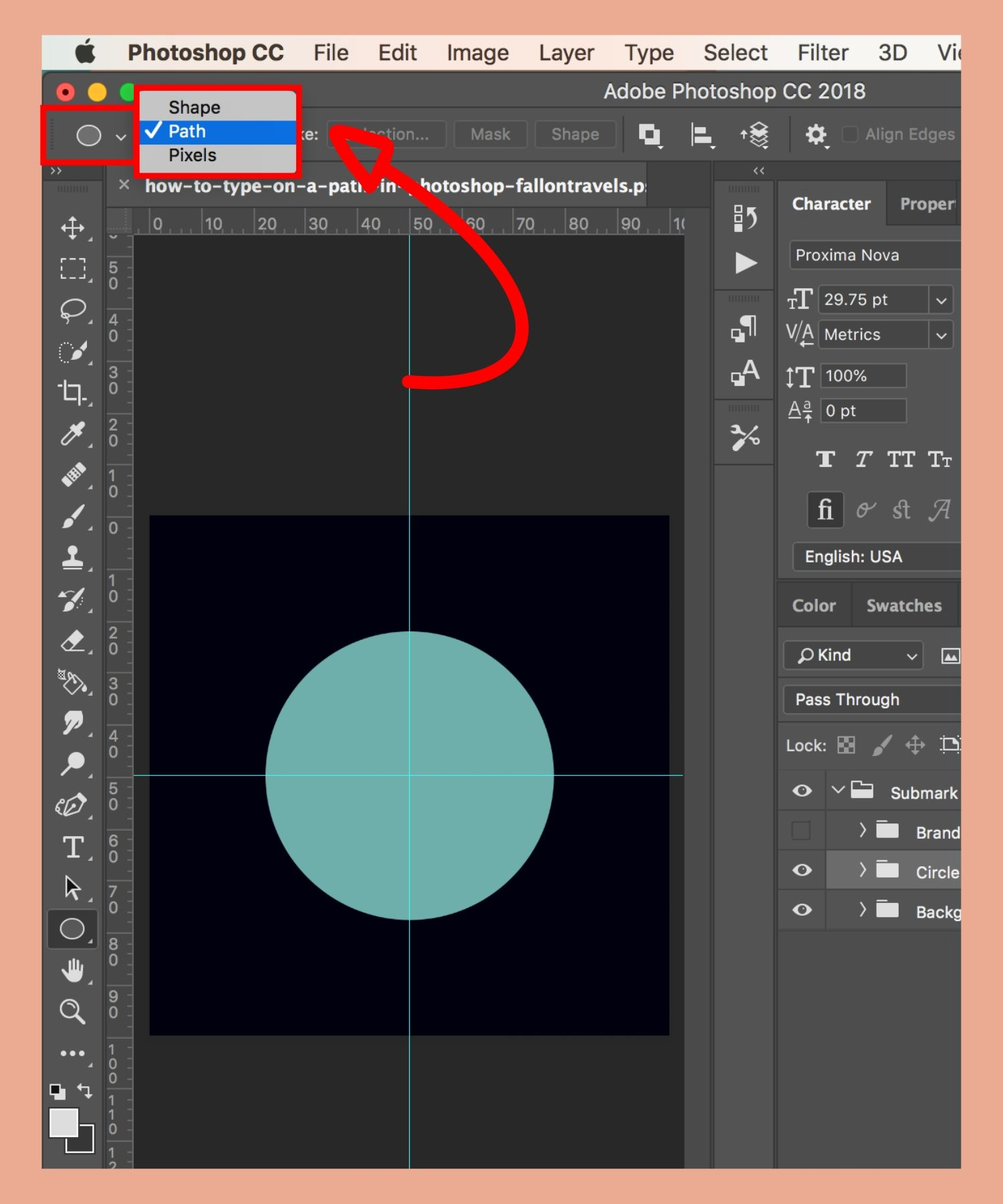 how to type in a circle photoshop