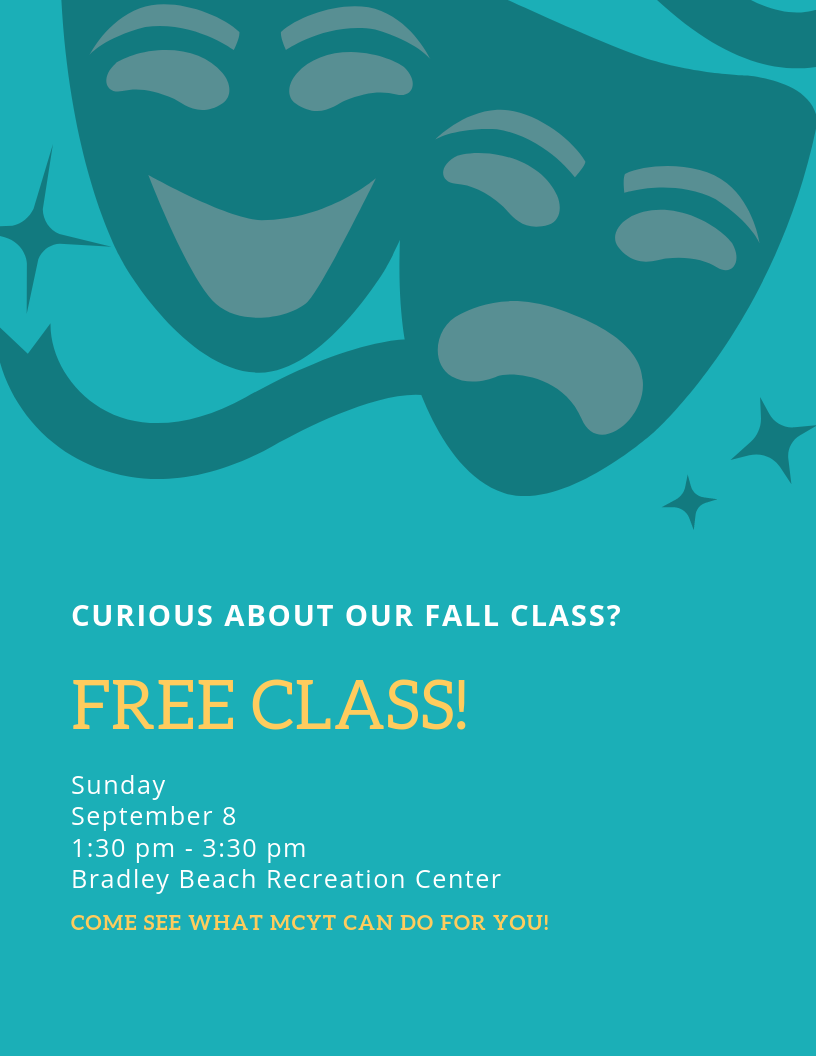 FALL 2019 - We're offering a drop-in class this fall to fit your flexible schedules!The class is open to all ages K-12. Each class we'll explore a different aspect of theatre! This class can be tailored to suit your skills and your needs!Regularly attending students will be invited to perform in the MCYT Fall Showcase in November.