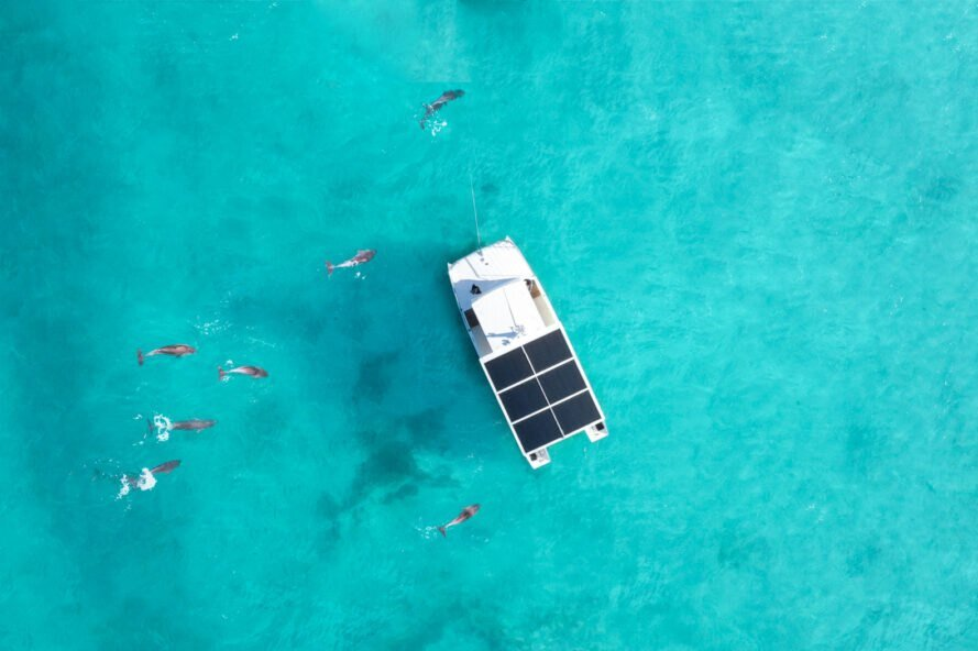 As the development continues, the tourism industry can use the solutions that are being created. For example solar energy, like in this hybrid battery-powered catamaran called The Squid, which runs dolphin tours in the area around Key West.