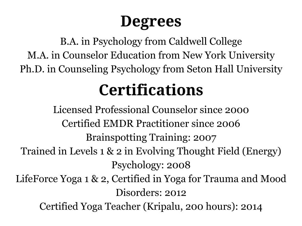 This will actually be a list of degrees/certifications/etc