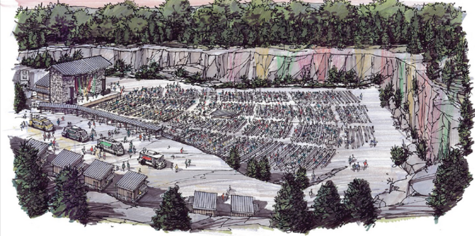 From bizjournals.com— a 2015 rendering depicts the amphitheater planned at Graystone Quarry, in Thompson's Station.