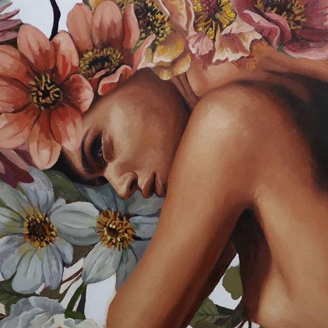 Just about finished with this one. Woohoo . . . . . . . . . . . . . . . . . #flowers #artwork #artwork🎨 #artstudio #christinagineris#tempuradesign #portraitpainting #oilpaintings #beautifulbizarre #artistoninstagram #creativeuprising #oilpainting #art #artist #artwork #painting #artistsoninstagram