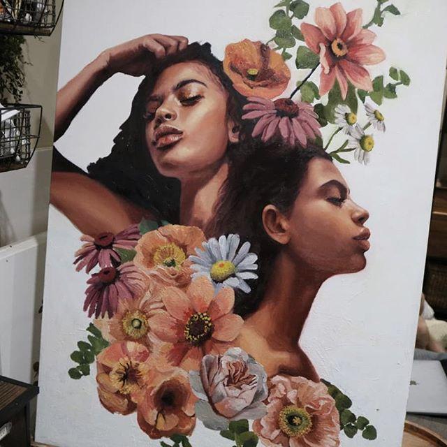 Had a hard time with this one for a bit, but happy to get it going again. . . . . . . . . . . . . . . . . . . . . . . . . . . . . . . . . . . . . . . . . . . . . . . . . . . . #flowerpainting #flowerart #flowers #artwork #artwork🎨 #artstudio #christinagineris #tempuradesign #portraitpainting #oilpaintings #beautifulbizarre #artistoninstagram #creativeuprising #oilpainting #art #artist #artwork #painting #artistsoninstagram #instaart #contemporaryart #creative