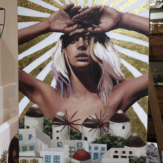 Guess where? . . . . . . . . . . . . . . . . . . . . . . #artwork #artwork🎨 #artstudio #christinagineris #tempuradesign #portraitpainting #oilpaintings #beautifulbizarre #artistoninstagram #creativeuprising #oilpainting #art #artist #mykonos #artwork #painting #santoriniart #mykonosart #santorini #artistsoninstagram #instaart #greece #contemporaryart #goldleaf #greeceart