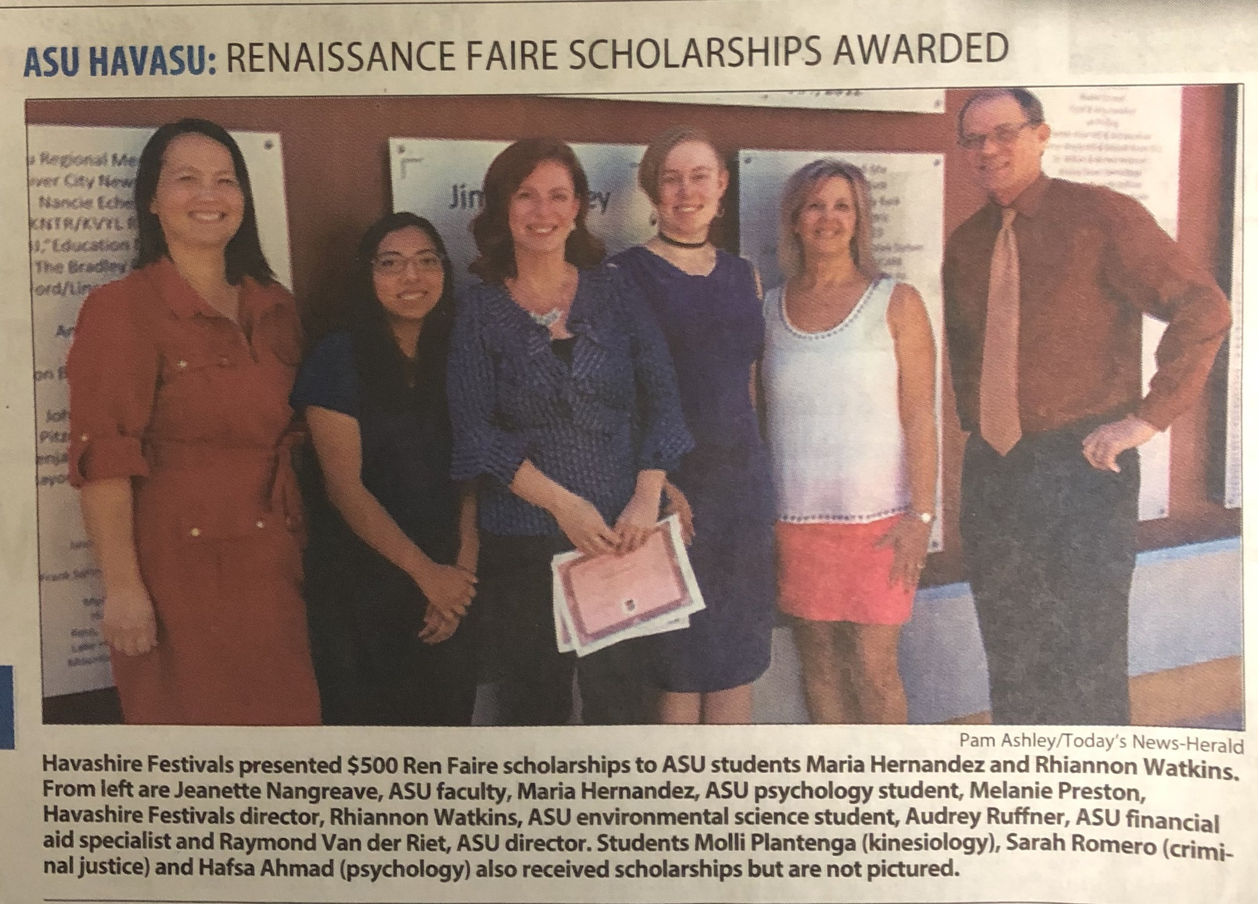 2018 - Havashire Festivals Inc. awarded $500 scholarships from profits from the 2018 London Bridge Renaissance Faire to 5 deserving students attending the local ASU-Havasu Campus. Students will be present with scholarship certificates at a ceremony to be held during the Fall 2018 semester.