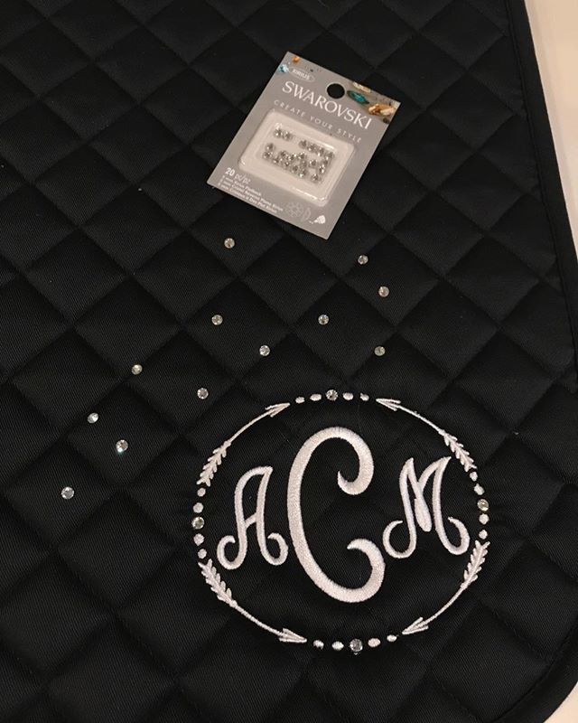 Latest project! Rhinestone embellished monogram on saddle pads. #machineembroidery #bling #monograms #ilovecreating #equineaccessories