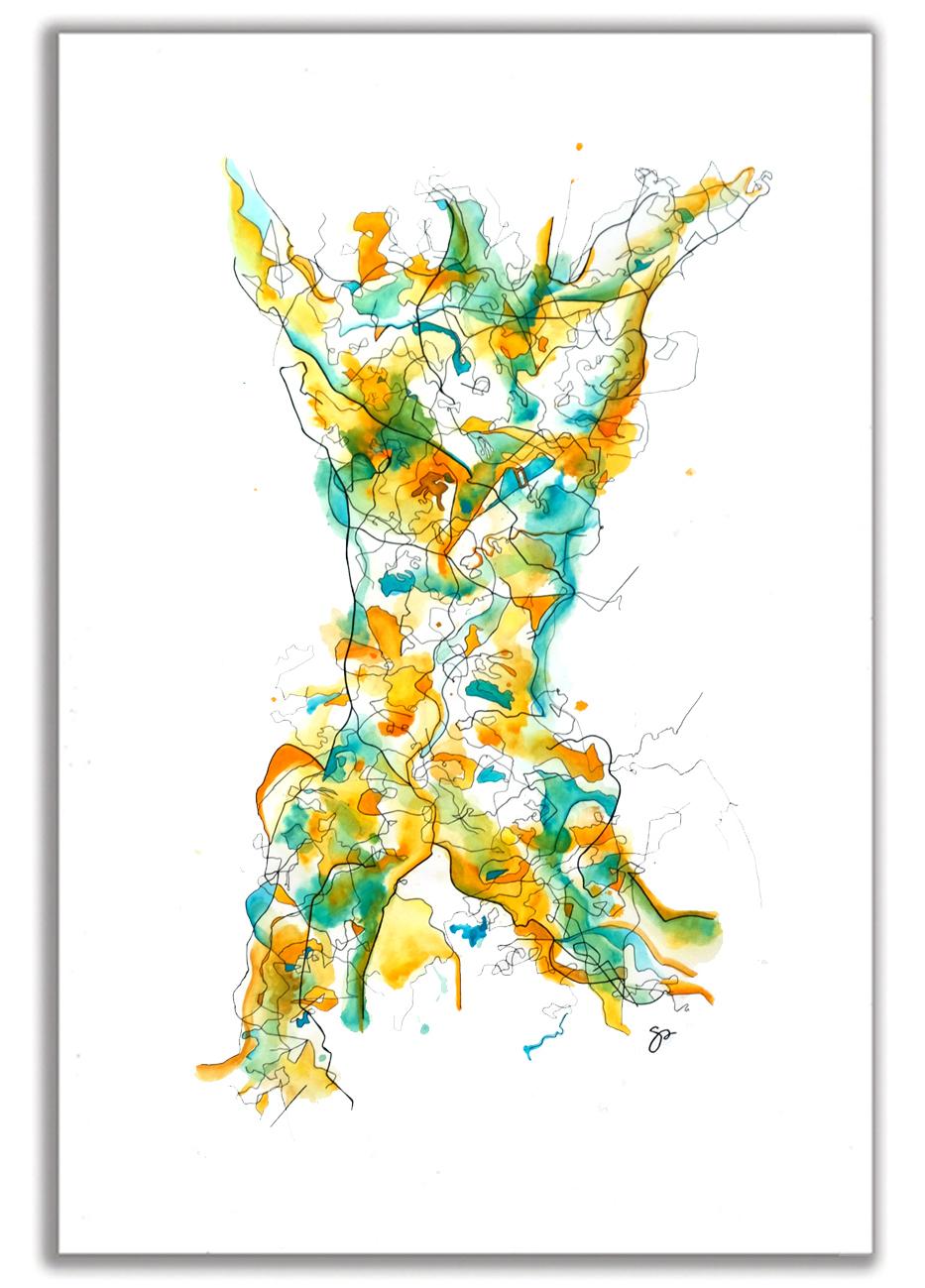 "REVERBERATION  Watercolor + Ink 48"" X 24"""