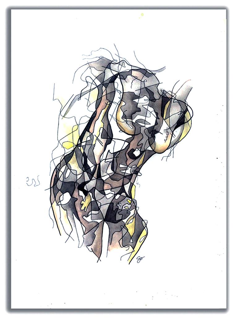 """BROKEN  Watercolor + Ink 42″X 30"""""""
