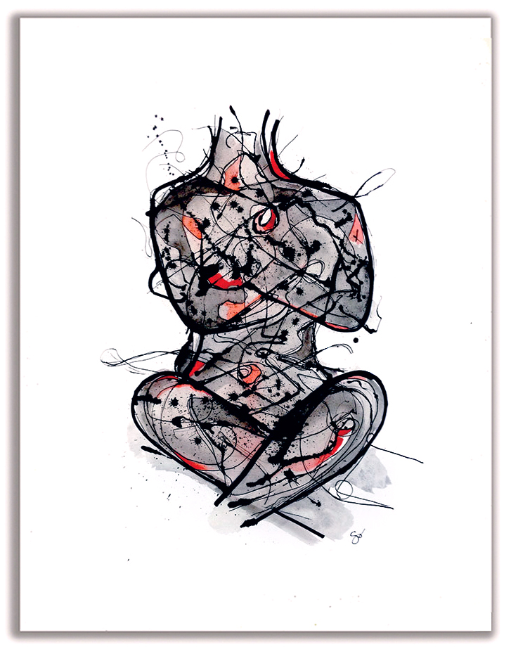 RESTRAINED  Watercolor + Ink 32″ x 26″